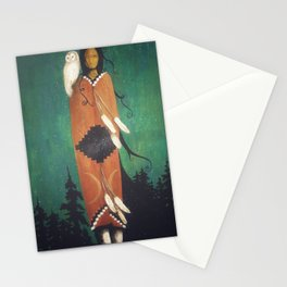 Wise Woman // Native American Woman Shaman Shamanism Owl Spirit Animal Feather Tree Turquoise Indian Stationery Cards