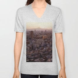 The View of Mt Fuji from the Top of Tokyo Tower Unisex V-Neck