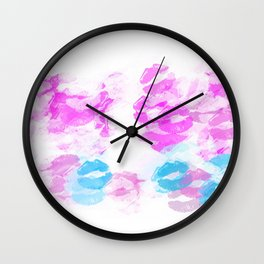 kisses lipstick pattern abstract background in pink and blue Wall Clock