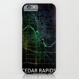 Cedar Rapids, IA, USA, Rainbow, City, Map iPhone Case