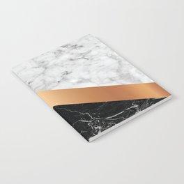Arrows - White Marble, Rose Gold & Black Granite #799 Notebook