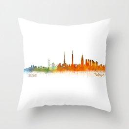 Tokyo City Skyline Hq V2 Throw Pillow