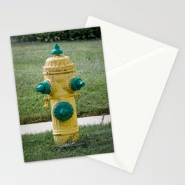 Ludlow List 75 Fire Hydrant Yellow and Green Fire Plug Vintage Cracking Paint Stationery Cards