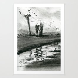 Ink and Carbon Pencil Art Print