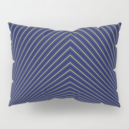 Gold Diagonals and Rays on Navy Blue Pillow Sham