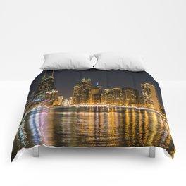 Chicago North Shore Skyline Night Comforters
