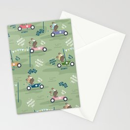 Ready to race mouse pattern Stationery Cards