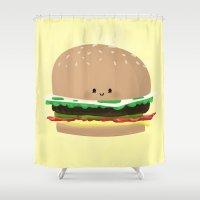 hamburger Shower Curtains featuring Little Hamburger by ericbennettart