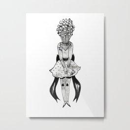 Enoki Mushroom Girl Metal Print