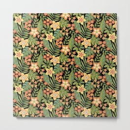 Tropical Flowers and leaves Metal Print