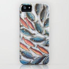 Fish you were here art series in blue an orange iPhone Case