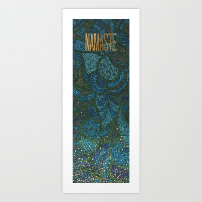 Yoga Mat - Namaste Paisley Leaf Pattern | Jewel Tone Blue Green Aqua Glitter Art Print