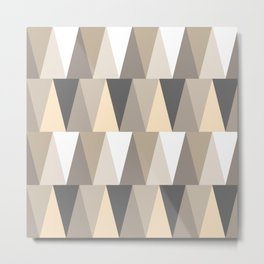Geometric Art, Triangles, Neutral Tones, Mid Century Art Metal Print