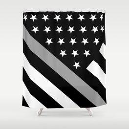 U.S. Flag: Black Flag & The Thin Grey Line Shower Curtain