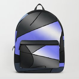 ABSTRACT CURVES #2 (Grays & Light Blue) Backpack