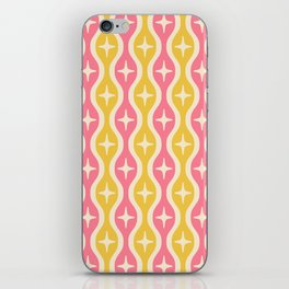 Mid century Modern Bulbous Star Pattern Pink and Yellow iPhone Skin
