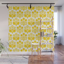 Mid Century Garden Flower Pattern Yellow Wall Mural
