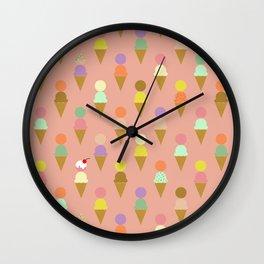 Ice Cream Cone Pattern Pink Robayre Wall Clock