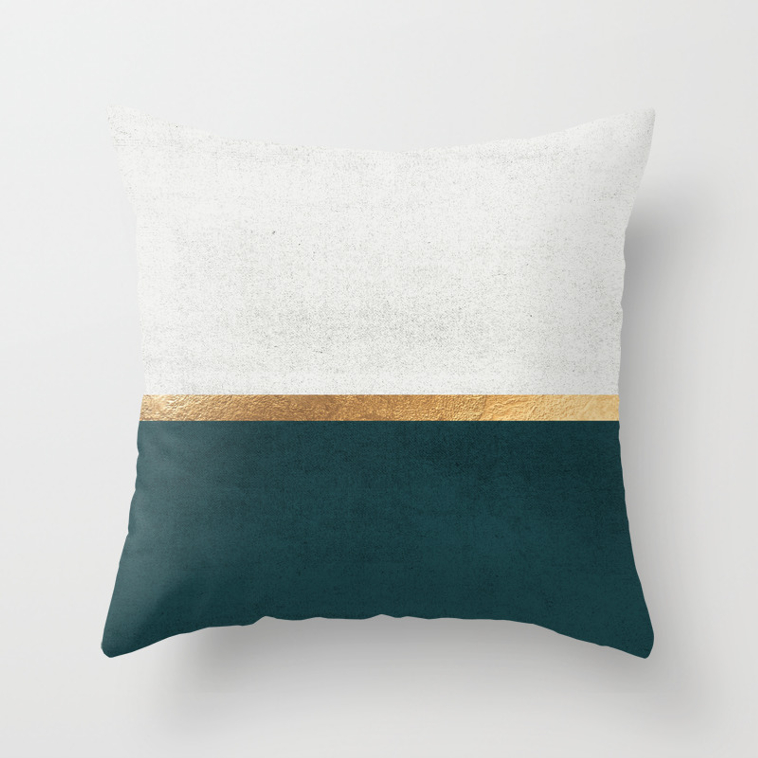 Deep Green, Gold and White Color Block Throw Pillow by jennadavis