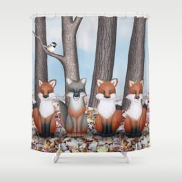 fox friends (with chickadees) Shower Curtain