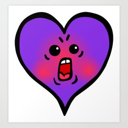Purple Shouting Heart Art Print
