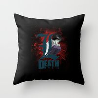 death note Throw Pillows featuring Death Note by feimyconcepts05
