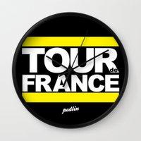 tour de france Wall Clocks featuring Tour de France by Pedlin