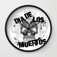 dia de los muertos Wall Clocks featuring Dia De Los Muertos by Digi Treats 2