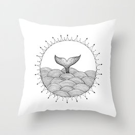 Whale in Waves Throw Pillow