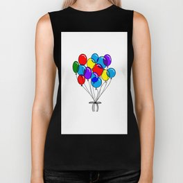 A Bouquet of Multi-Colored Balloons tied in a Bow Biker Tank