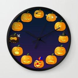 Halloween Jack-o'-lantern Wall Clock