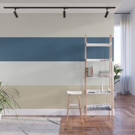 Blue, Linen White, Beige and Off White 4 Bold Stripes - 2020 Color of the Year Chinese Porcelain Wall Mural