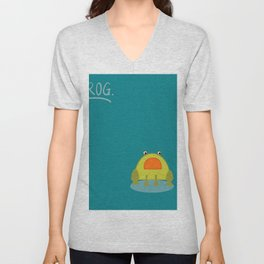 cutte little green frog drawing Unisex V-Neck