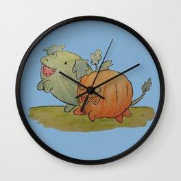 Watermelon dog and pumpkin pup Wall Clock