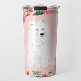 Samoyed dog breed floral wreath pet portrait dog gifts Travel Mug