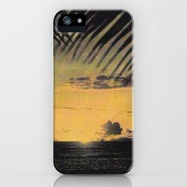 Hawaiian Sunset on Waikiki Beach Vintage Photo iPhone Case
