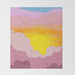 Sixties Inspired Psychedelic Sunrise Surprise Throw Blanket