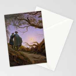 Two men Contemplating the Moon Stationery Cards