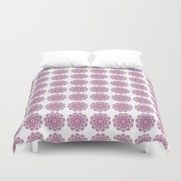 Summer in India, grey and bright pink geometric mandala flowers Duvet Cover