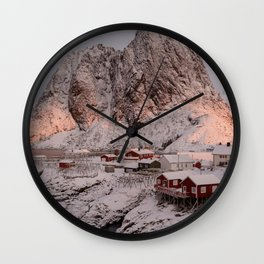 Sunrise Over Hamnøy, Norway Wall Clock