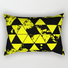 Splatter Triangles In Black And Yellow Rectangular Pillow