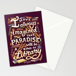 Library is Paradise Stationery Cards