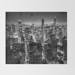 Chicago Skyline at Night Throw Blanket
