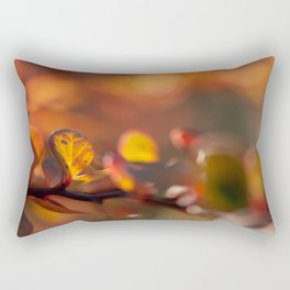 Red Glowing Barberry Leaf Rectangular Pillow