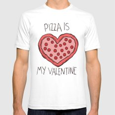 Valentine Pizza White SMALL Mens Fitted Tee