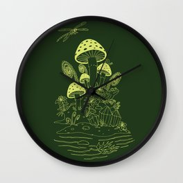 Mushroom, Frogs and Crystals with Dragofly Wall Clock