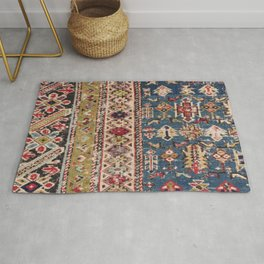 Dusty Blue Green Kuba II 19th Century Authentic Colorful Mustard Bands Vintage Patterns Rug