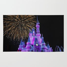 Disney Magic Kingdom Fireworks at Christmas - Cinderella Castle Rug
