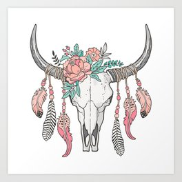 Boho Longhorn Cow Skull with Feathers and Peach Flowers Art Print