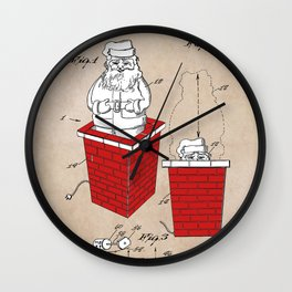 patent art Rubens Disappearing Santa in Chimney 1960 Wall Clock